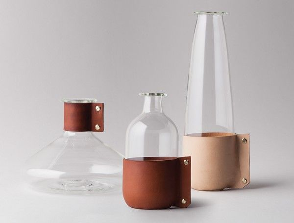 These borosilicate glass carafes and decanters by Terroir are hand-blown and snugly wrapped in leather with brass fittings.