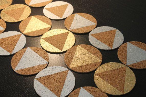Metallic/White Cork Coasters by nimwitstudio on Etsy