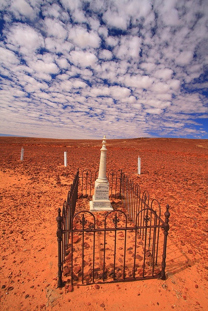 Cemetery in Innamincka, Outback South Australia -- A rather nice place to RIP, even with all that red dust, although I don't suppose you'd mind it's persistent adherence when you've passed on.