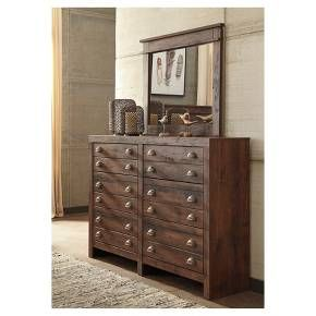 Take a minimalist chic profile. Merge with a rustic aesthetic. Add a touch of industrial cool. If that's your style, this apothecary-inspired dresser might be the perfect fit. Six smooth-gliding drawers—adorned with classic cup pull hardware—are packed with possibilities. Cognac-colored finish over replicated cherry grain is something to savor. Signature Design by Ashley is a registered trademark of Ashley Furniture Industries, Inc.