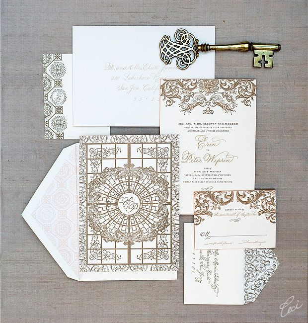 Wedding Invitations Inspired by the ceiling of the Palm Court at the Plaza Hotel in NYC - Ceci New York