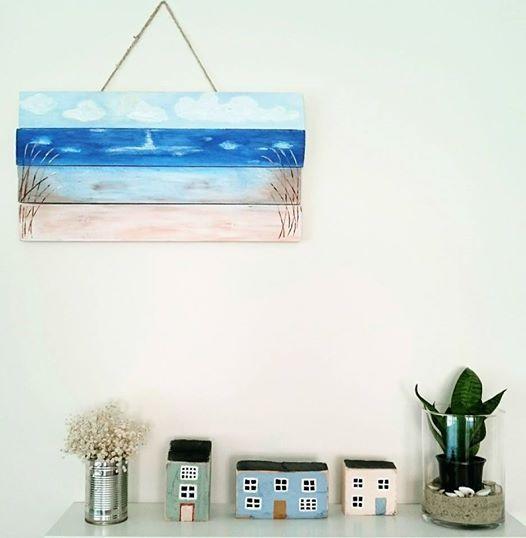 Nyár, hangulat, raklap festmény, fa házikók.....Summer, mood, painting pallets, wood houses .....