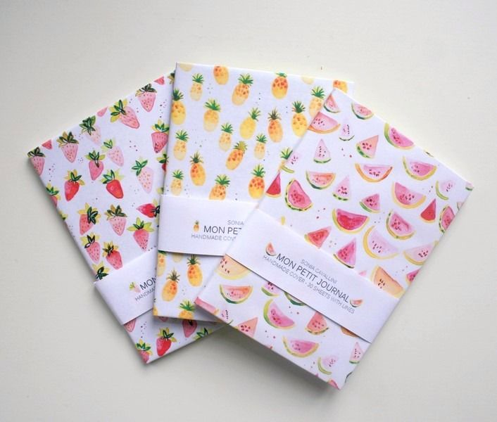 3 carnets pastèque, ananas, fraise : Carnets, agendas par soniacavallini