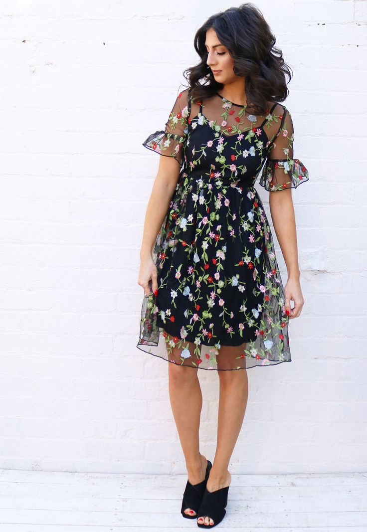 Floral Embroidered Mesh Overlay Tea Dress with Midi Skirt in Black