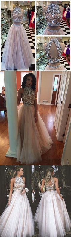 Charming two piece prom dress, elegant long prom dress, evening dress.                                                                                                                                                                                 More