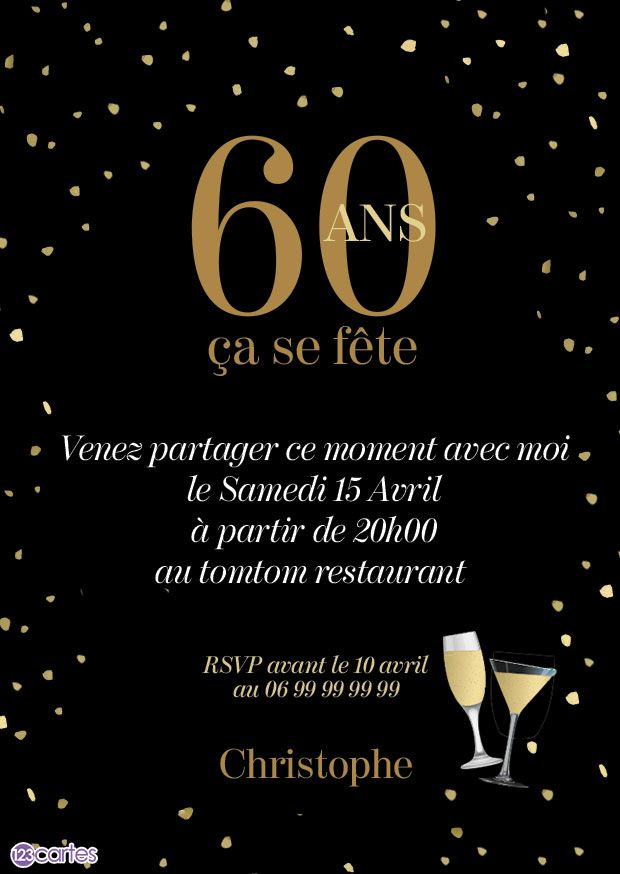 invitation anniversaire 60 ans nuit