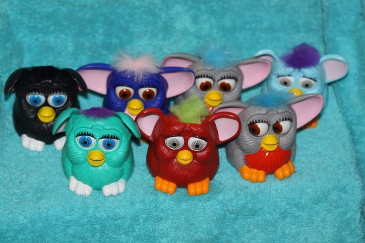 LOT Of 7 VIntage 1998 Plastic FURBY Toys/ McDonald's Advertising Ears Move #TY