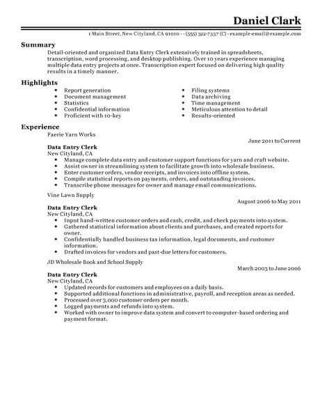 sample resume data entry