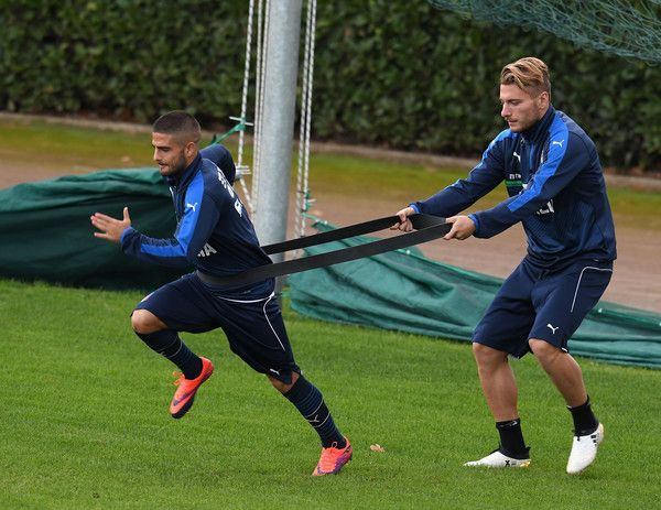 Ciro Immobile (R) and Lorenzo Insigne of Italy in action during the training session at the club's training ground at Coverciano on November 7, 2016 in Florence, Italy.