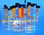 """Tableau stylisé """"Le Port d'Honfleur"""" : Peintures par peintures-axelle-bosler"""