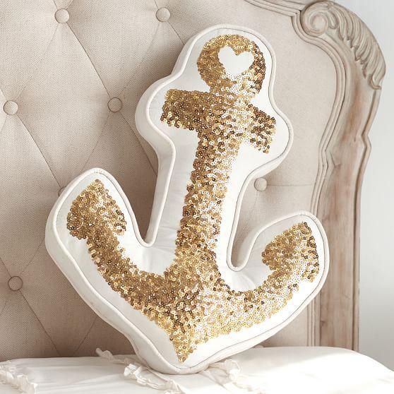 The Emily + Meritt Gold Anchor Pillow   PBteen