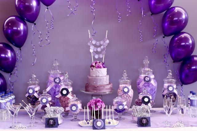 purple party decorations | Rosettes/Water Bottle Printable Inspiration: The Pretty Blog