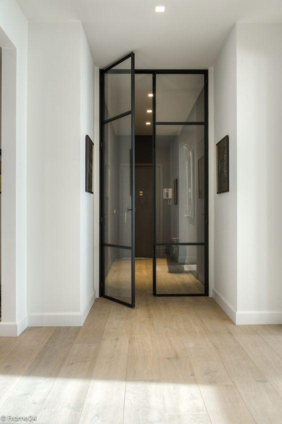 Black metal door passage interior