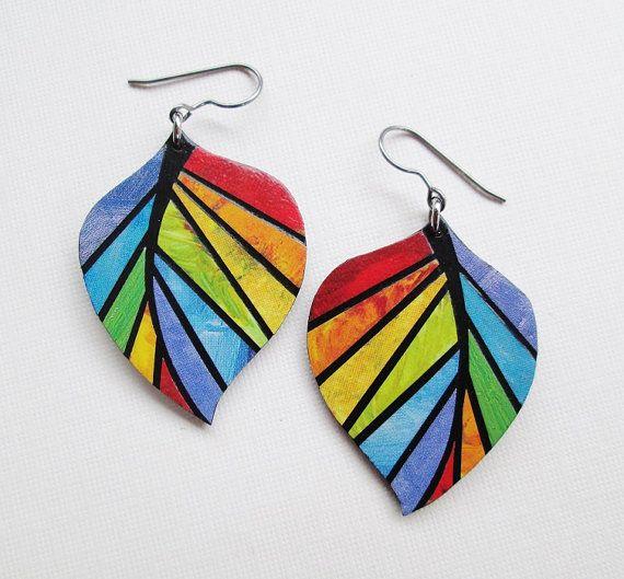 Paper Mosaic Earrings - Upcycled Earrings - Recycled Earrings - Medium Leaf Earrings - Rainbow