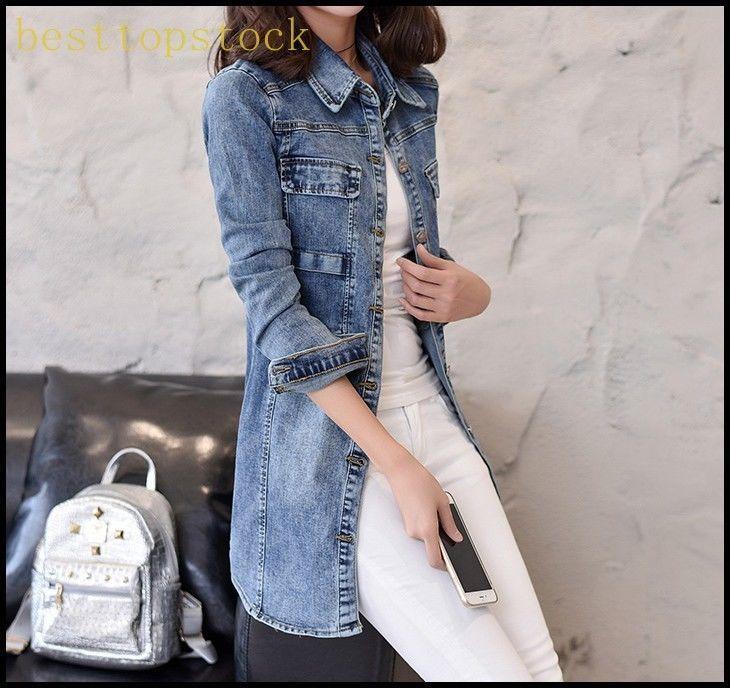 Student Summer Womens Ladies Denim Jacket Long Big Coats Spring Autumn Coats Hot