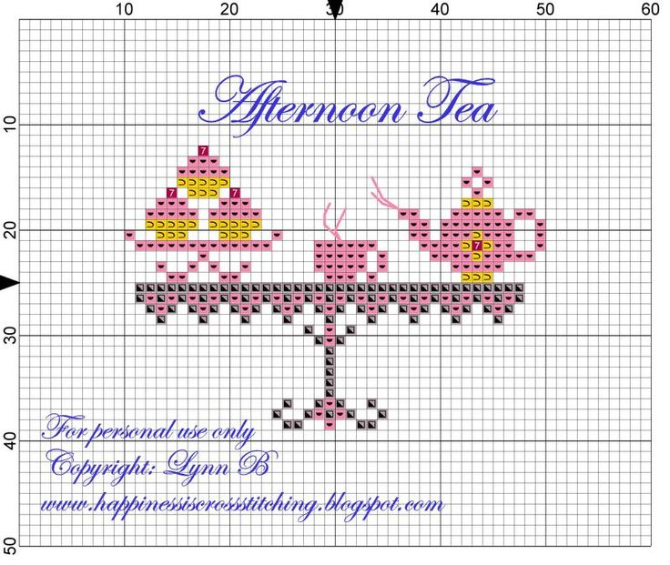 Afternoon Tea: Another free cross-stitch pattern! (does not include the wording)