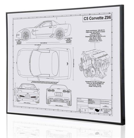 Corvette C5 Z06 Laser Engraved Wall Art Poster Engraved On Metal