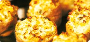 Potato skins with creamy sweetcorn filling