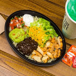 Taco Bell Power Bowl. Rice, black beans, chicken or steak, romain lettuce, sour cream, pico, guacamole, and avocado ranch dressing. This is truely a delicious dish.