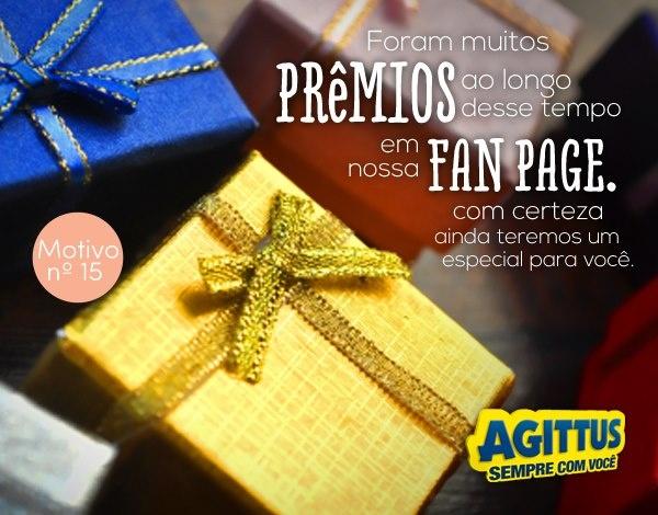 Foram tantos prêmios exclusivos para quem curte a Agittus no Facebook que o seu está guardado. Se preparem pois teremos uma surpresa para o Natal!    Esse é mais um dos 20 motivos para curtir a Agittus!