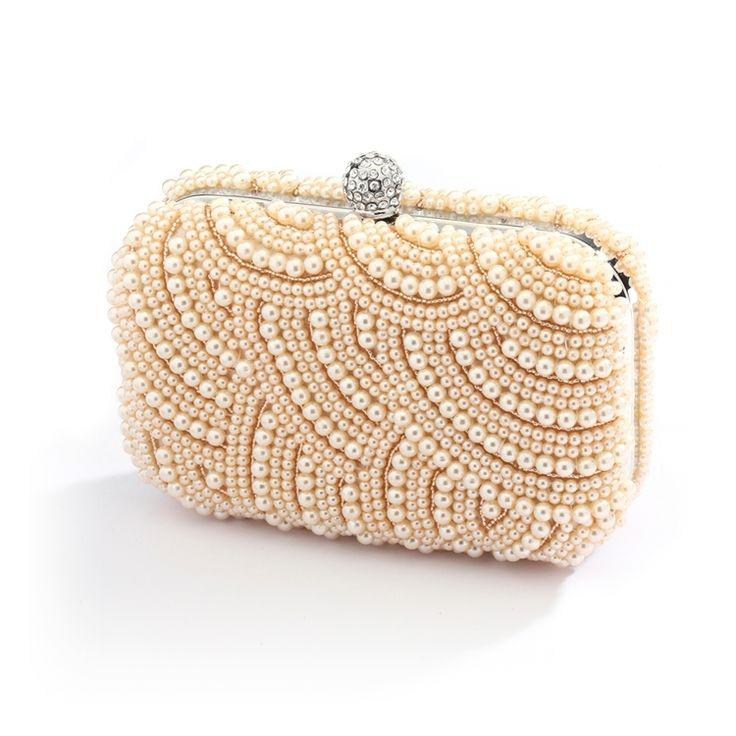 Champagne Pearl Deco Wedding Minaudiere Clutch Purse - Affordable Elegance  Bridal -