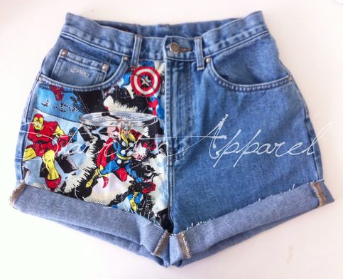 High waisted shorts with Marvel fabric in the front.  MADE TO ORDER. PLEASE ALLOW UP TO TWO WEEKS FOR YOUR ORDER TO BE PROCESSED.  These are handmade and consume a lot of time & energy, so please be considerate about pricing and processing time. Because they are handmade, your shorts will not...