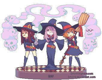 """dav-19: """" My first pixel art on Tumblr~ http://dav-19.deviantart.com/art/Pixel-Witches-552777005 """""""