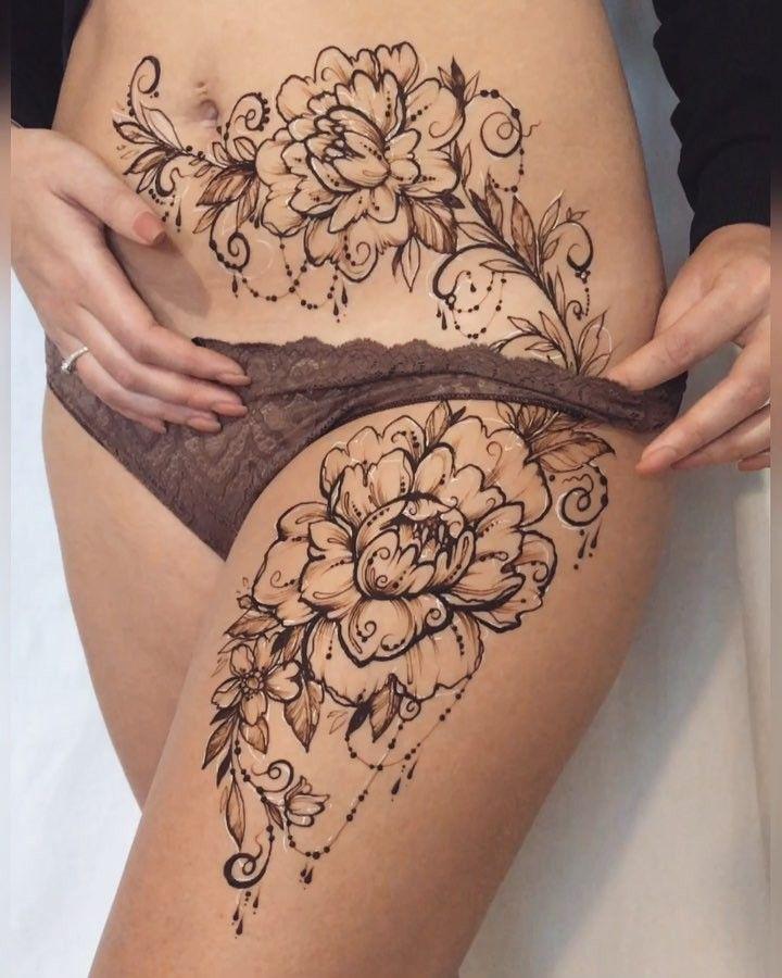 Odna S Pervyh Rabot V Novom Godu Vot Takie Piony Dlya Ani Talitamehndi Neobychnoe Raspolozhenie Lower Belly Tattoos Stomach Tattoos Women Lower Stomach Tattoos