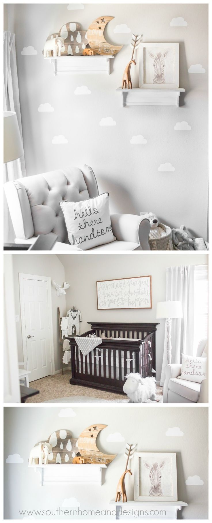 Nursery Decorations Baby Boy Rustic Grey