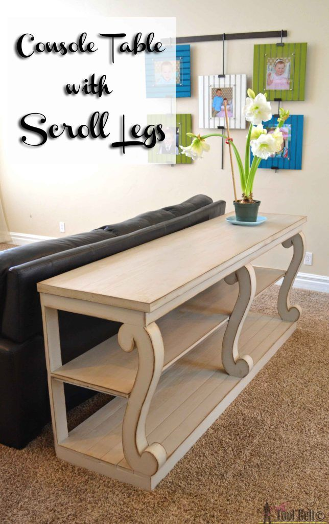 Build a console table with awesome scroll legs, definitely a statement piece!  Free woodworking plans and leg pattern.