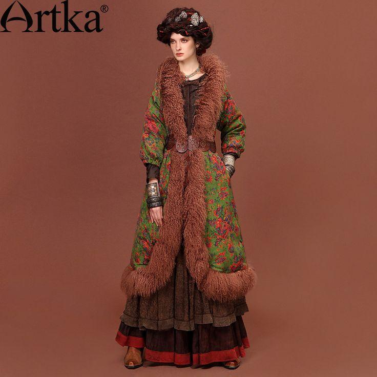 Пуховое пальто в этническом стиле с отворотом из меха ламы