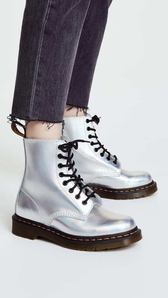 latest discount on feet at new high Silver flat boots #DocMartensstyle (With images) | Boots, Fashion ...