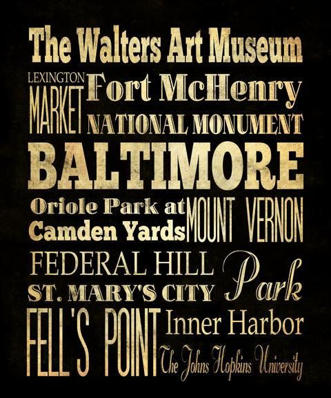 On Sale Baltimore Typography Art Poster Bus Transit Subway Roll Art Baltimores Attractions Wall Art Decoration