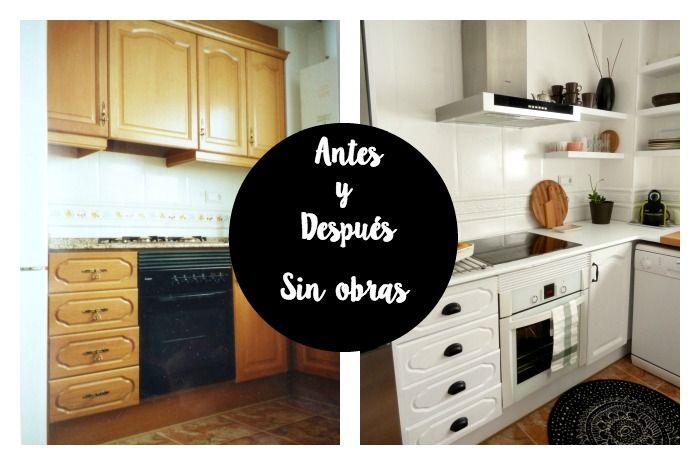 Antes y después reforma cocina sin obras- renovar la cocina sin obras : via MIBLOG