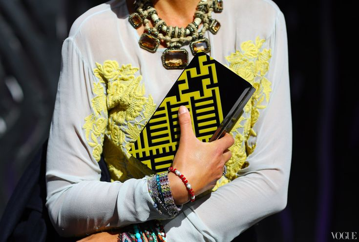 London Spring Fashion Week 2013 - Lanvin necklace, Burberry Prorsum box clutch. PH:  Phil Oh.