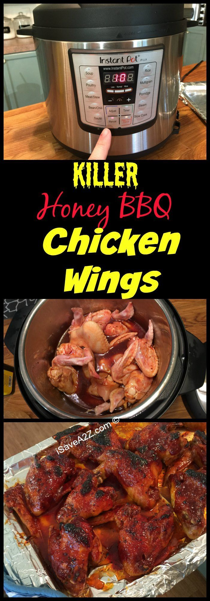 These are some KILLER Honey BBQ Chicken WINGS!!! Instant Pot Recipes: Honey BBQ Wings made in an Electric Pressure Cooker - iSaveA2Z.com