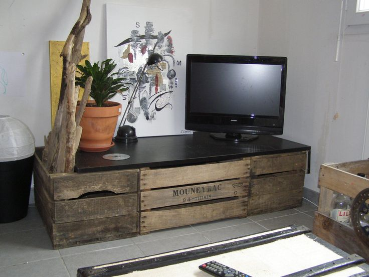 meuble tv en cageot pomme caisse tiroir structure id es pinterest tvs. Black Bedroom Furniture Sets. Home Design Ideas