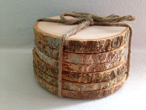 Rustic Tree Bark Coaster Set of 6 pcs Wood by SomethingInTheBox