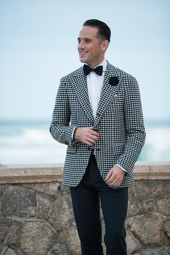 Cocktail Party Suit Part - 28: Mens Houndstooth Blazer Cocktail Attire - He Spoke Style