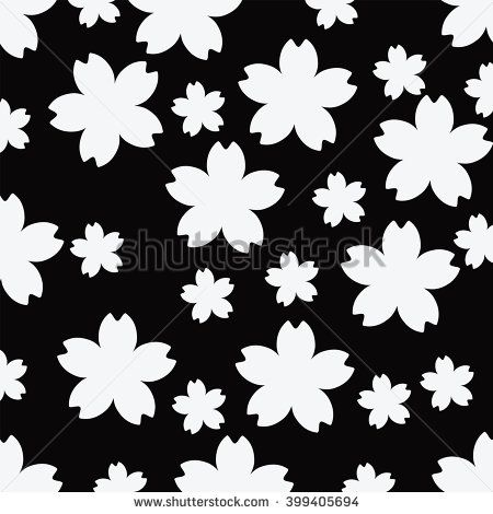 Seamless Cherry blossom black and white pattern background ...