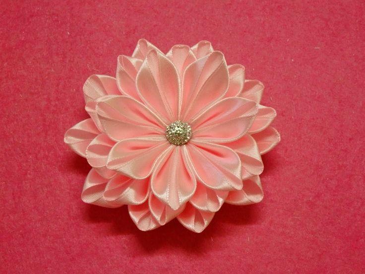 DIY Kanzashi flower,ribbon flower tutorial,how to,easy,kanzashi flores d...