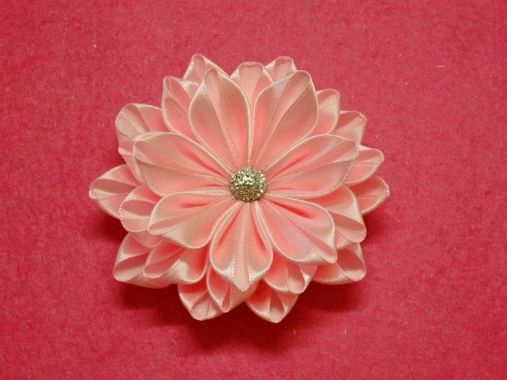 DIY Kanzashi flower,ribbon flower tutorial,how to,easy,kanzashi flores d...