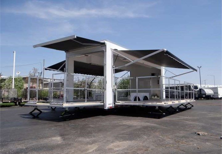 24 Foot Long Mobile Marketing Solution This Trailer Features Three Fold Out Stages Remote Controll Food Truck Design Interior Custom Bbq Pits Stage Marketing