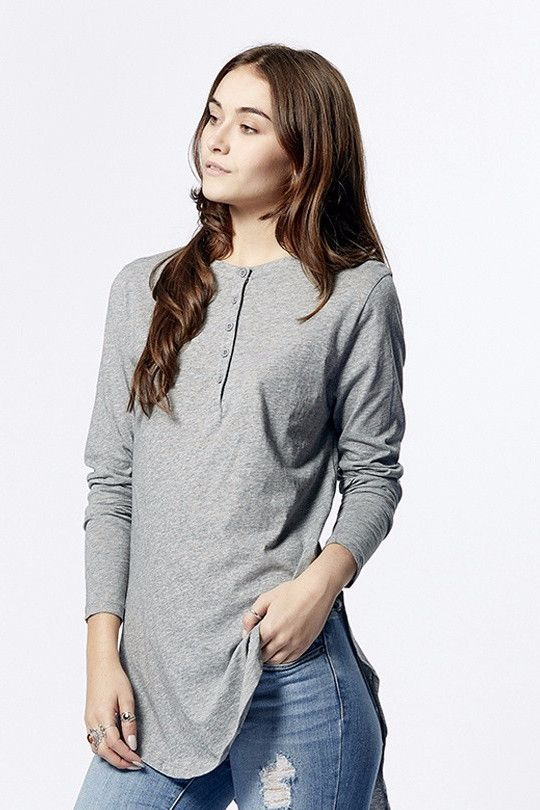 casa kuma - Mandarin Long Sleeve Tee Grey