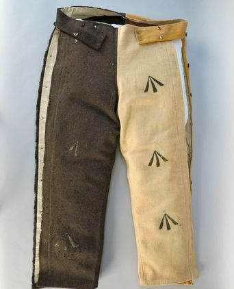 These trousers were issued to a convict transported from Britain to Van Diemen's Land (now Tasmania). They were part of the issued uniform given to the Port Arthur convicts during the operation of the penal system on the Tasman Peninsula 1830 - 1877.