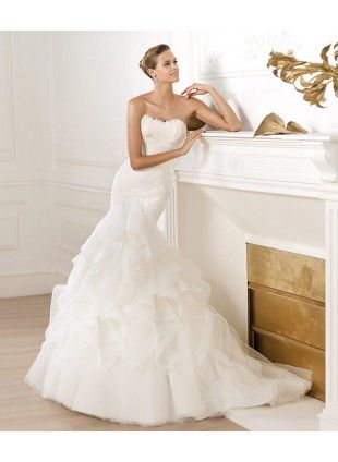 New Products Strapless Tulle Wedding Gown Mermaid Wedding Dress
