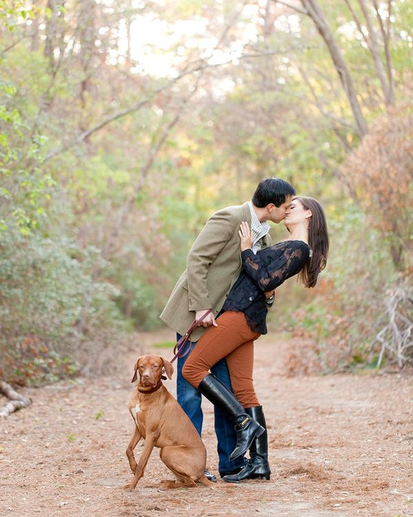 Fun in Houston on an engagement session with a dog!
