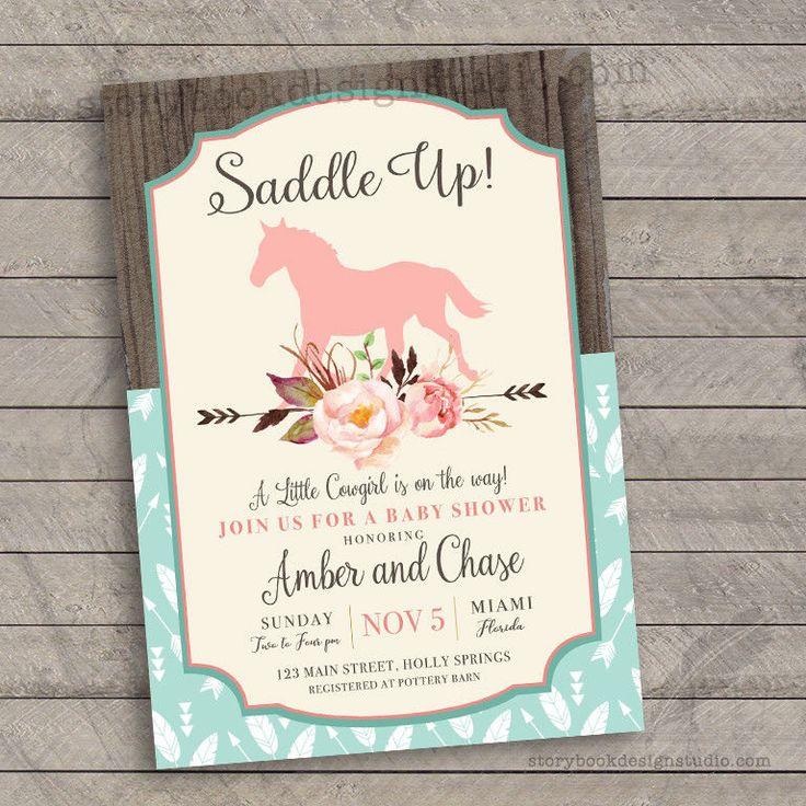 Saddle Up Baby Shower Invitations Rocking Horse