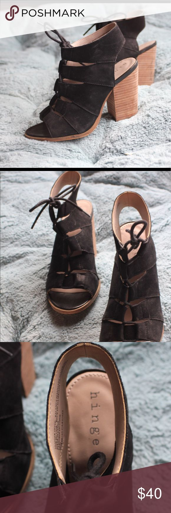Hinge Tie Up Heeled Sandal Black suede lace up sandal, comfortable runs a little small. hinge Shoes