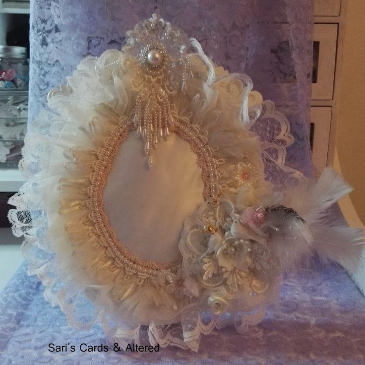 shabby chic pincushion frame, diy, photoframe, http://sari-sariscards.blogspot.com